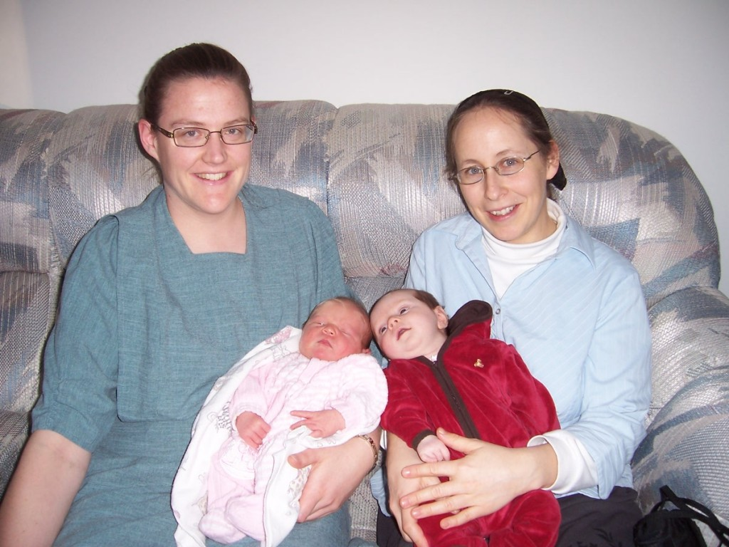 Mothers and babies: Chris with Megan (left) and Zonya with Priya (right).