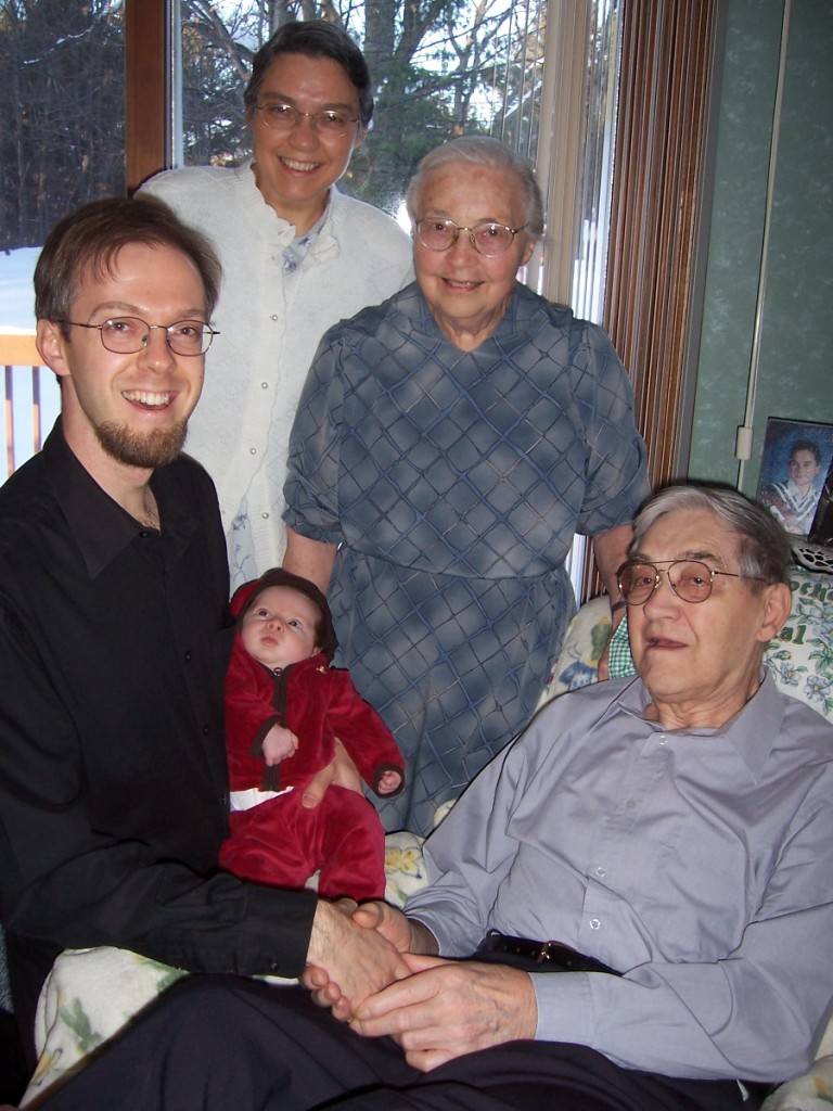 Four generations: Priya, me, Mom, and Mom's parents. We owe more than we can fathom to those who have gone before us.