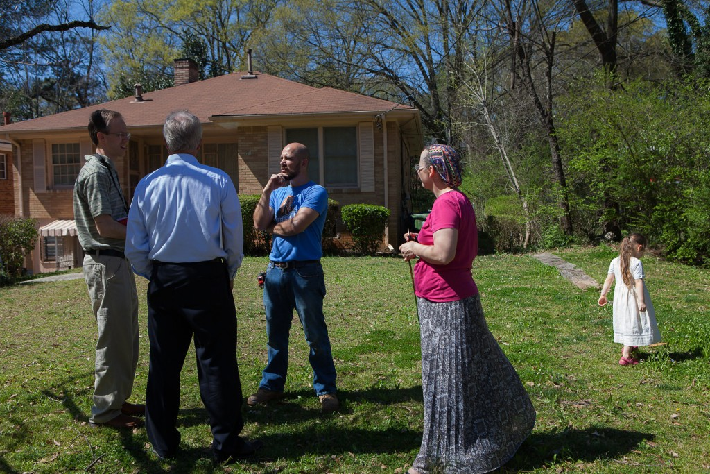 Regrouping outside the house we rejected. L to R: Me, our realtor, Steve, Zonya.